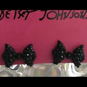 Black crystal bow earrings Betsey Johnson